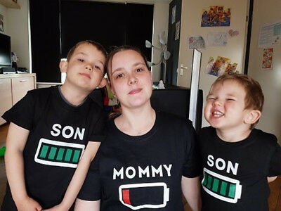USA Stock Mother Son Battery T-shirt Tops Tee Women Kid Baby Boys Cotton Clothes