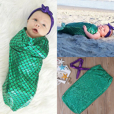 Newborn Baby Girls Mermaid Photography Photo Props Costume Swaddle Bag 2PCS USA