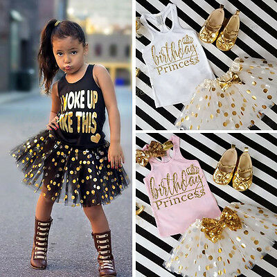 US Baby Kid Girls Summer Top T-shirt Polka Dot Princess Party tutu Dress Clothes