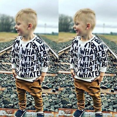 US Seller Newborn Baby Boy Tops T-shirt Long Pants Outfits Set Clothes Tracksuit