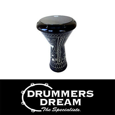 "Pro Doumbek 8.75"" Egyptian Hand Engraved Black Design Drum"