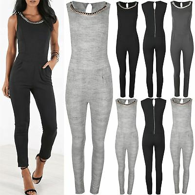 Womens Ladies Gold Necklace Chain Zip Keyhole Back Playsuit Jumpsuit All in One