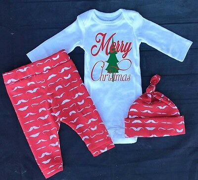 USA Newborn Baby Girls Clothes Tops Romper+ Pants Legging 3pcs Outfits Clothes
