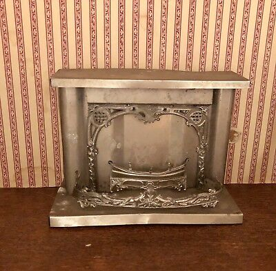 Antique Dollhouse Fireplace Miniature Metal Tin Ornate 1800s Victorian Germany?