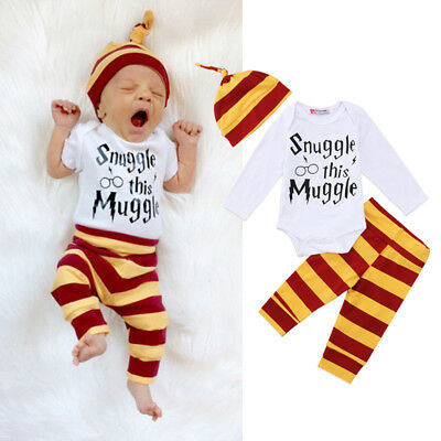 US Stock Newborn Baby Boys Girl Harry Potter Clothes Romper Pants Hat Outfit Set