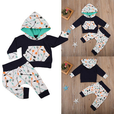US Seller Toddler Baby Boy Girl Hoodie Hooded Top +long Pants Outfit Set Clothes