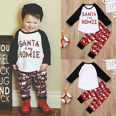 Toddler Kids Baby Girl Boy Christmas Top T-shirt +Pants Leggings 2Pcs Outfit Set
