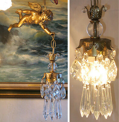 Vintage Chandelier French Insp. Lamp Flying Cherub Crystal prism lantern angel
