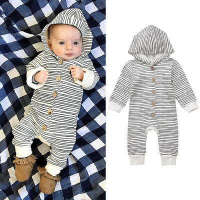 Infant Baby Boy Girl Striped Hooded Romper Jumpsuit Bodysuit Clothes Outfits New