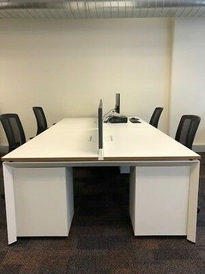 x4 double office desks with divider, wire concealer box & adjustable legs