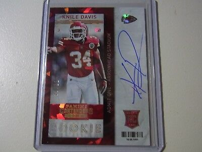2013 Panini Contenders Rookie Ticket On Card Auto CRACKED ICE Knile Davis 21/21