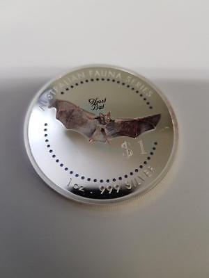 1998 $1 Australian Fauna Series 1 oz silver coloured coin - Ghost Bat