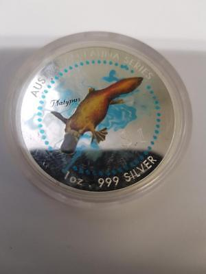 1998 $1 Australian Fauna Series 1 oz 999.  silver coloured coin - Platypus
