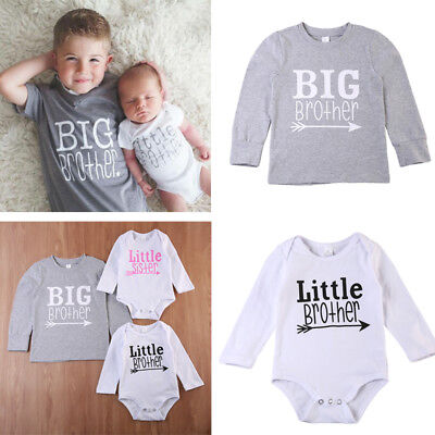 US Baby Boy Girl Family Little Big Brother Romper T-shirt Kids Cotton Clothes