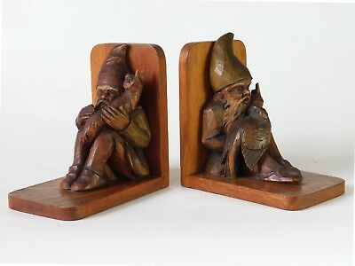Bookends with Gnomes - black forest carving - unique - rare