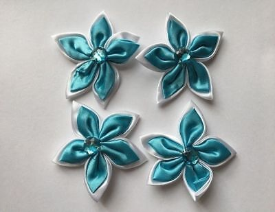 Satin Flowers - Turquoise & White - New & Sealed