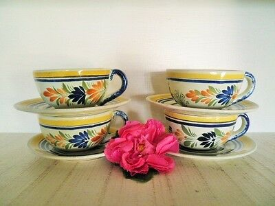 Henriot Quimper Cups & Saucers X4 Peasant Lady Man France Handmade Pottery 723