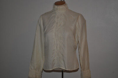 VINTAGE BLOUSE SILKY in CREAM HIGH LACE COLLAR&LACY FRONT DITA EDWARDIAN LOOK