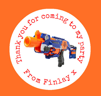 Personalised Nerf Gun Logo Birthday Party Bag Labels, Sweet Cone Stickers