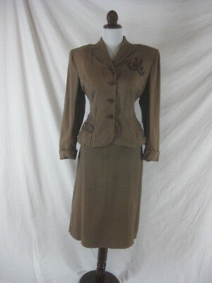 Vtg 40s 50s Brown Womens Vintage 2 Piece Skirt Jacket Suit W 32