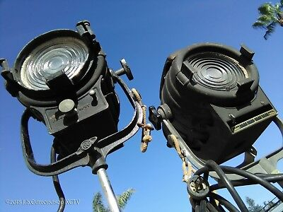 Vintage Old School Hollywood Movie Lights with caster wheel stands