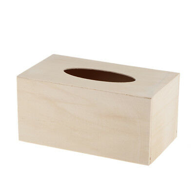 Unfinished Wood Tissue Box Holder Natural Wooden Cover Craft Home Decor
