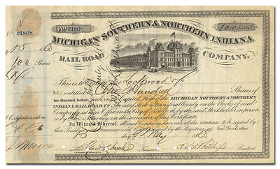 Michigan Southern & Northern Indiana Rail Road Stock Certificate (1868, RN-T4)