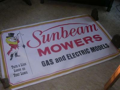 "Vintage 1950's Sunbeam Lawnmower 36"" x 59 1/2"" Dealer Poster Sold Coast to Coast"