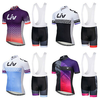 2018 Womens Liv Cycling Team Kit Short Sleeve Bike Jersey Padded Bib Shorts Set