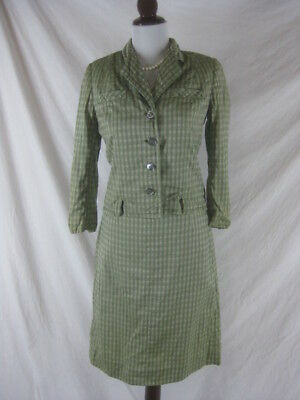 Vtg 50s 60s Best & Co Womens Vintage Green Plaid 2 Piece Skirt Jacket Set W 26