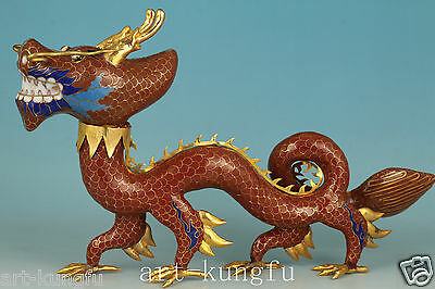 Big Chinese Old Red Cloisonne Collection Handmade Carved Dragon Statue Home Deco