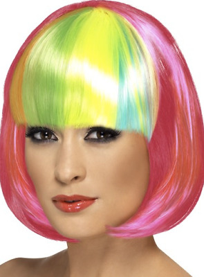 Partyrama Multi-coloured Adults Wig 80s Fancy Dress Accessory