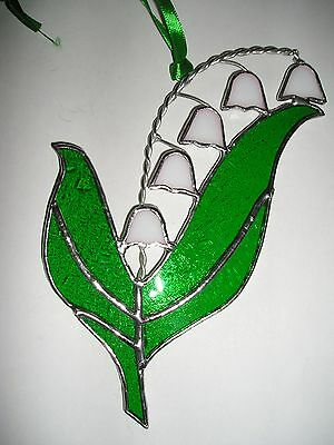 Stained Glass Lily of the Valley, Birthday Flower May, Suncatcher, Handmade