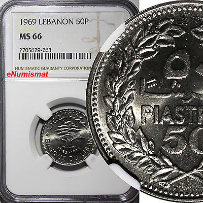 Lebanon Nickel 1969 50 Piastres NGC MS66 TOP GRADED BY NGC KM# 28.1