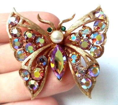 """Stunning Vintage Estate Signed Coro Ab Rhinestone Butterfly 2 1/8"""" Brooch! 8555S"""