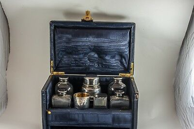 ANTIQUE  ENGLISH ART DECO TRAVEL MARTINI SET in LEATHER BOX