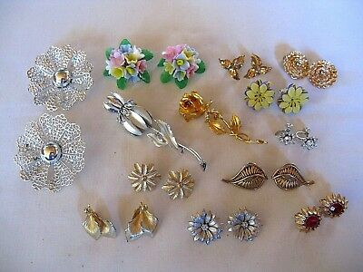 Vintage Lot of 13-Flower/Floral-Earrings/Brooches/Pins-Sarah Coventry-Japan-Rose