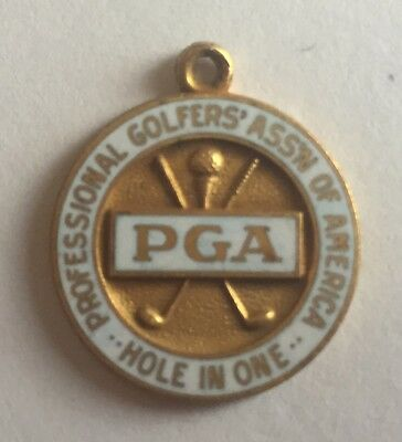 "Vintage Pga ""Hole In One"" Pendant Charm Award Gold Enameled Crossed Golf Clubs!"