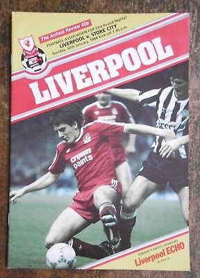 Liverpool V Stoke City (F.a. Cup Replay) Football Programme 12-1-1988