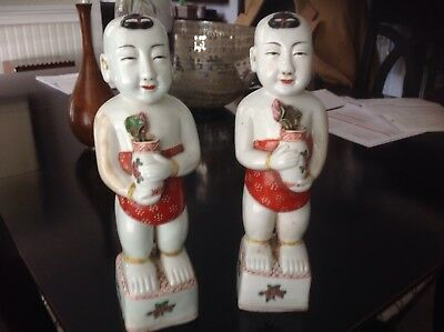 Charming Pair Antique Chinese Export Ho Ho Boy Figural Holding Flowers Signed!