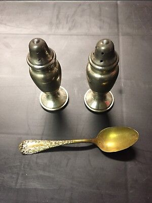 Vintage Sterling Silver Salt & Pepper Shakers and Spoon