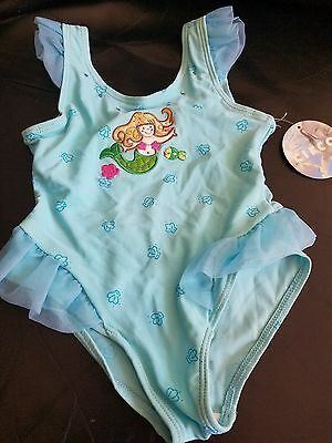 NWT Circo Toddler Girl Turquoise Mermaid 1PC Bathing Suit w/Ruffle SZ 3T