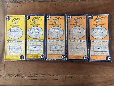 Lot de 6 Cartes Michelin N°21 Suisse 1948 -1955
