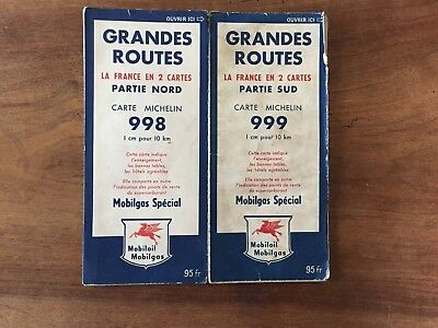 Lot de 2  Cartes Michelin Mobil 998 et 999 1955