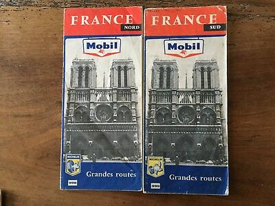 Lot de 2  Cartes Michelin Mobil 998 et 999 1963