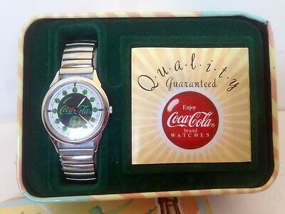 1988 Vintage Coca Cola Woman Drinking Silver Watch In Tin Box New Battery Exc