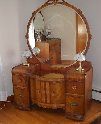 Art Deco Waterfall Vintage -Vanity Dresser With Mirror