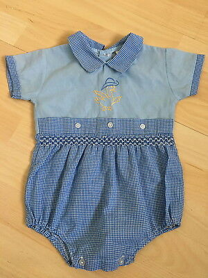 Vintage blue polycotton traditional rompersuit 12-18mths Duck embroidered