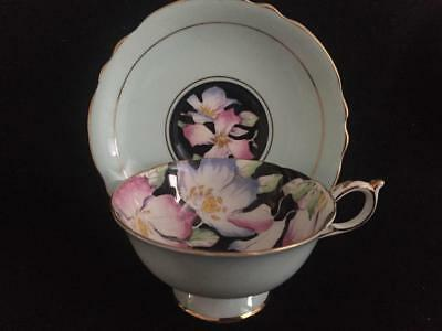 Vintage PARAGON Black Floral Chintz-Fine Bone China Tea Cup Saucer-REGO-England