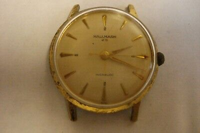 Vintage Hallmark 25 Jewel Cal 2391 Swiss Mechanical Watch for Parts or Repair